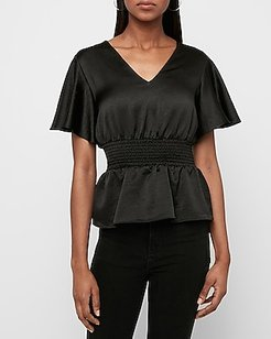 Textured Satin Smocked Peplum Top Black Women's M