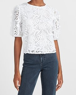 Lace Ruffle Puff Sleeve Top White Women's XS
