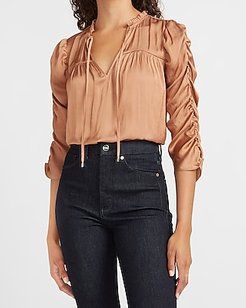 Satin Ruched Drawstring V-Neck Top Brown Women's L
