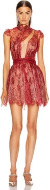 French Lace Mini Dress in Red