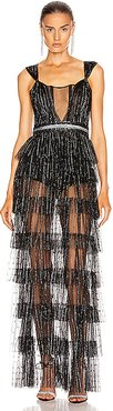 Layered Sparkle Gown in Black