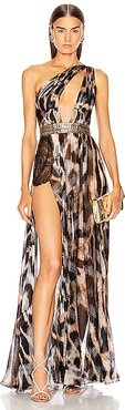 One Shoulder Printed Dress in Abstract,Black,Neutral