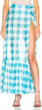 Vichy Long Pleated Skirt in Blue,Plaid,White