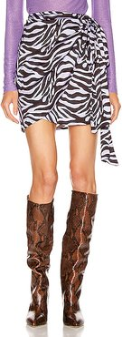 Camilla Wrap Mini Skirt in Animal Print,Purple