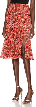 Clementine Skirt in Animal Print,Red