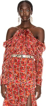 Elijah Top in Animal Print,Red