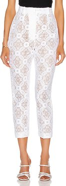 High Waist Lace Pant in White,Lace & Eyelet