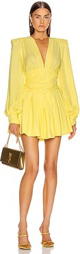 Long Sleeve Ruched Mini Dress in Yellow