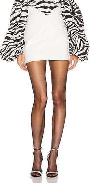 Leather Butterfly Mini Skirt in White