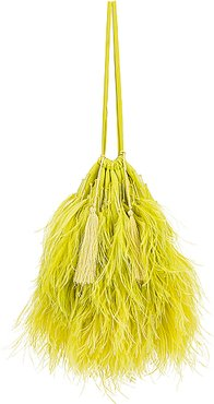 Feather Pouch Bag in Green