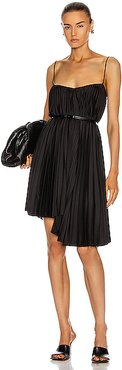 Pleated Mini Dress in Black