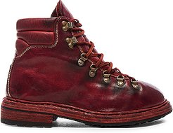 Lace Up Leather Combat Boots in Red