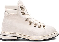 Lace Up Suede Combat Boots in White