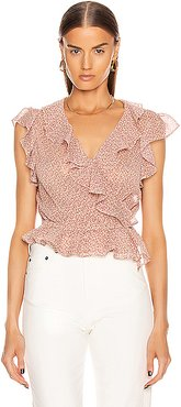 The Flutter Sleeve Blouse in Pink
