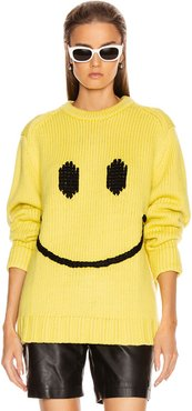 Long Sleeve Crew Neck Sweater in Novelty,Yellow