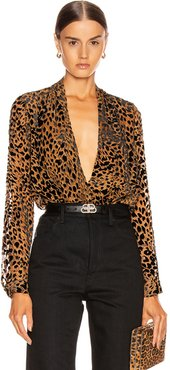 Lydia Drape Front Blouse in Animal Print,Brown