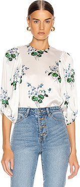 Puff Sleeve Top in Floral,White