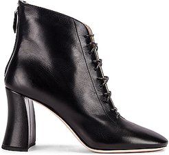 Lace Up Leather Ankle Boots in Black