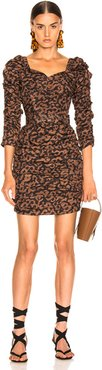 Ruched Mini Dress in Brown