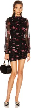 Gathered Mini Dress in Black,Floral