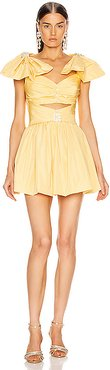 Ribbon Shoulder Mini Dress in Yellow