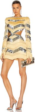 Sequin and Fringe Cut Out Mini Dress in Yellow