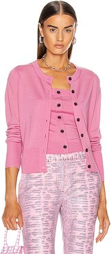 Tahira Superfine Merino Cropped Cardigan in Pink