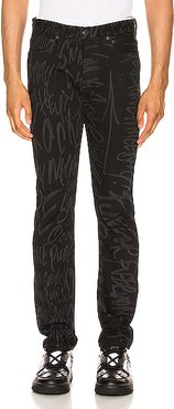 Mickey Mouse Words Slim Jean in Abstract,Black