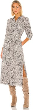 Patch Pocket Snake Print Maxi Dress in Gray. - size S (also in XS,XXS)