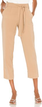 Tie Waisted Tapered Pant in Tan. - size 2 (also in 0,12,6)