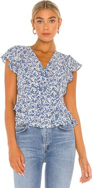 Flutter Sleeve Button Front Blouse in Blue. - size S (also in L,M,XS,XXS)