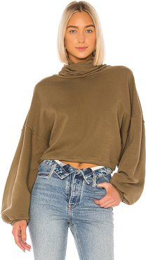 Balloon Sleeve Turtleneck Sweatshirt in Army. - size M (also in L)