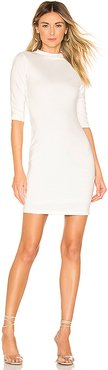 Delora Fitted Mock Neck Mini Dress in White. - size 4 (also in 0,2)