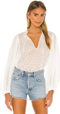 Julius Exaggerated Blouson Sleeve Tunic Top in White. - size L (also in S,M)