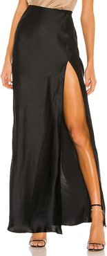 X REVOLVE Edie Maxi Skirt in Black. - size S (also in M,XS)