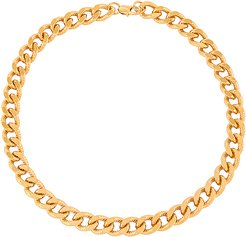 Mia Large Curb Chain Necklace in Metallic Gold.