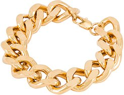 Bree Extra Large Curb Bracelet in Metallic Gold.