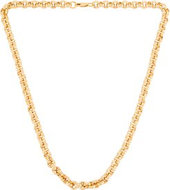 Beige Rolo Chain Necklace in Metallic Gold.