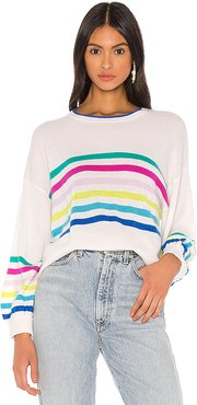 Rainbow Striped Balloon Sleeve Sweater in Cream. - size M (also in L,S,XS)