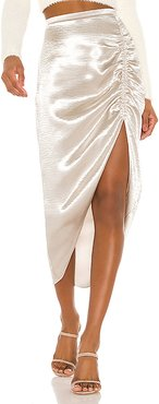Shiny Dancer Ruched Skirt in Metallic Neutral. (also in 10)