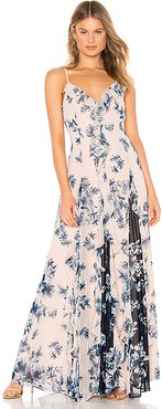 Long Ruffle Gown in Blush. (also in 0)