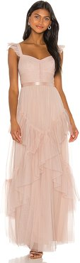 Tiered Ruffle Gown in Pink. - size 4 (also in 0,2,6,8)