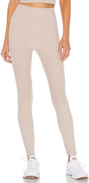 Spacedye High Waisted Midi Legging in Beige. - size L (also in M)