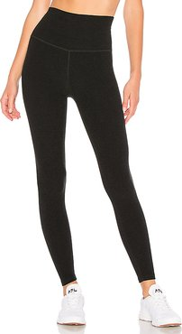 Spacedye High Waisted Midi Legging in Black. - size L (also in M,S,XS)