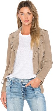 Suede Moto Jacket in Brown. - size S (also in M,XS)