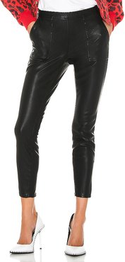 Carbon Vegan Leather Pant in Black. (also in 24,28,29)
