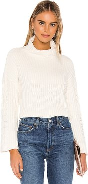 Cable Sleeve Turtle Neck in Ivory. - size L (also in M,S)