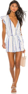 Flutter Sleeve Romper in White. - size XS (also in M,S)