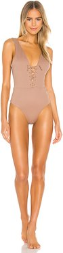 Reversible Hidden Treasure Chill Out One Piece in Brown. - size M (also in S)