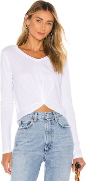 Light Weight Jersey Long Sleeve Knot Tee in White. - size XS (also in L)